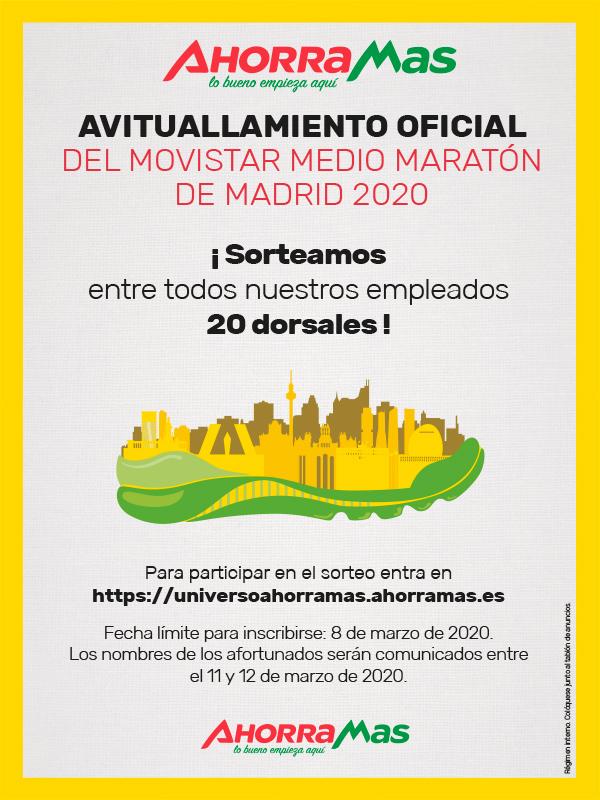 SORTEAMOS 20 DORSALES PARA PARTICIPAR EN LA CARRERA MOVISTAR MEDIO MARATÓN DE MADRID 2020